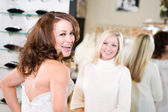 Bride: Woman Excited Over Wedding Gown — Stock Photo