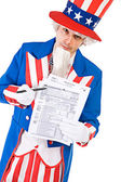 USA: Uncle Sam Shows Where To Sign — Stock Photo