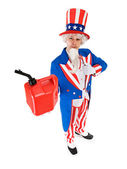 USA: Uncle Sam Holding Up Gas Can — Stock Photo