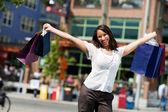 Shopping: Woman Having A Great Shopping Day — Stock Photo