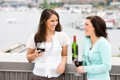 Wine: Girls Share A Glass Of Wine And Chat — Stock Photo