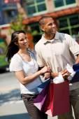Shopping: Young Couple Shopping In An Urban Area — Stock Photo