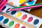Education: Colorful Watercolor Paints For School — Stock Photo