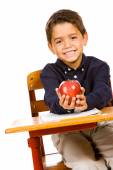 Student: With an Apple for Teacher — Stock Photo