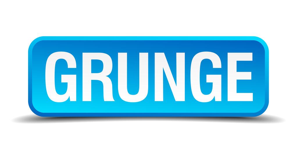 Grunge azul 3d realistas cuadrados aislados botón — Vector de stock