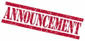 Announcement red square grungy isolated rubber stamp — Stock Photo