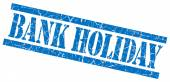 Bank holiday blue square grungy isolated rubber stamp — Stock Photo