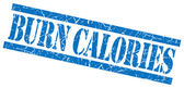 Burn calories blue square grungy isolated rubber stamp — Stock Photo