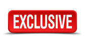 Exclusivo 3d quadrado botão vermelho isolado no fundo branco — Vetor de Stock