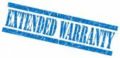 Extended warranty blue grungy stamp isolated on white background — Stock Photo