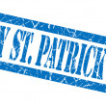 Happy st patricks day blue grungy stamp on white background — Stock Photo #54301145