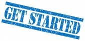 Get started blue grungy stamp on white background — Stock Photo