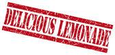 Selo de grungy deliciosa limonada vermelho sobre fundo branco — Fotografia Stock
