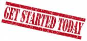 Get started today red grungy stamp on white background — Stock Photo