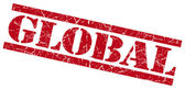 Global red grungy stamp on white background — Stock Photo