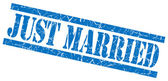 Just married blue grungy stamp on white background — Stockfoto