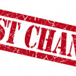 Last chance red grungy stamp on white background — Stock Photo #54356671