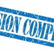 Mission complete blue grungy stamp on white background — Stock Photo #54357021