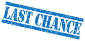 Last chance blue grungy stamp on white background — Stock Photo