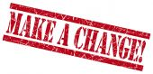 Make a change red grungy stamp on white background — Stock Photo
