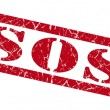 Sos red grunge stamp isolated on white — Stock Photo #54568509