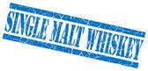 Single malt whiskey blue square grunge textured isolated stamp — Stock Photo