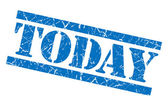 Today blue square grunge textured isolated stamp — Stock Photo