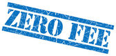 Zero fee blue square grunge textured isolated stamp — Stock Photo