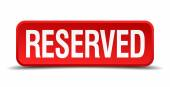 Reserved red 3d square button isolated on white — Stock Vector