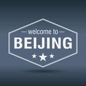 Welkom bij Beijing zeshoekige vintage whitelabel — Stockvector