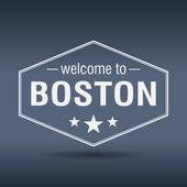 Welcome to Boston hexagonal white vintage label — Stock Vector