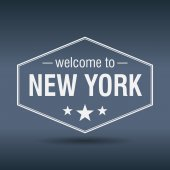 Welcome to New York hexagonal white vintage label — Stock Vector