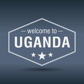 Welcome to Uganda hexagonal white vintage label — Stockvektor
