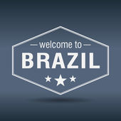 Welcome to Brazil hexagonal white vintage label — ストックベクタ