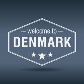 Welcome to Denmark hexagonal white vintage label — Vettoriale Stock