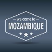 Welcome to Mozambique hexagonal white vintage label — Vector de stock