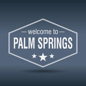 Welcome to Palm Springs hexagonal white vintage label — Stock Vector