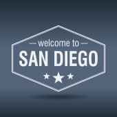 Welcome to San Diego hexagonal white vintage label — Stock Vector