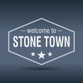 Welcome to Stone Town hexagonal white vintage label — Stock Vector