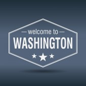 Welcome to Washington hexagonal white vintage label — Stock Vector