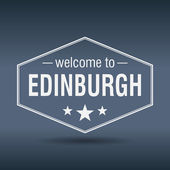 Welcome to Edinburgh hexagonal white vintage label — Stock Vector