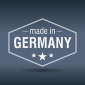 Made in Germany hexagonal white vintage label — Stock Vector