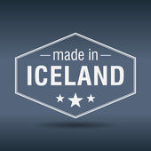 Made in Iceland hexagonal white vintage label — Stock Vector