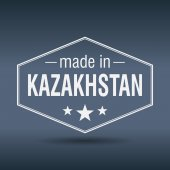 Made in Kazakhstan hexagonal white vintage label — Vettoriale Stock