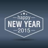 Happy new year 2015 hexagonal white vintage label — Stock Vector