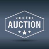 Auction hexagonal white vintage retro style label — Stock Vector