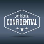 Confidential hexagonal white vintage retro style label — Stock Vector