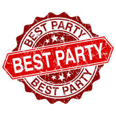 Best party red vintage stamp isolated on white background — Cтоковый вектор