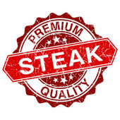 Steak red vintage stamp isolated on white background — Stock Vector
