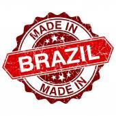 Beyaz zemin üzerine kırmızı pul izole Brezilya'da yapılan — Stok Vektör
